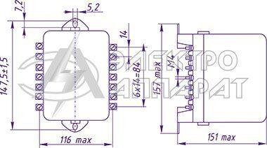 Габаритные, установочные и присоединительные размеры реле типа РП 341 переднее присоединение