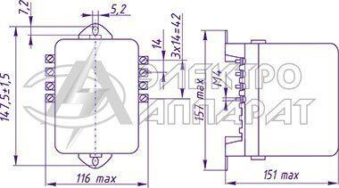 Габаритные, установочные и присоединительные размеры реле типа РП 342 переднее присоединение