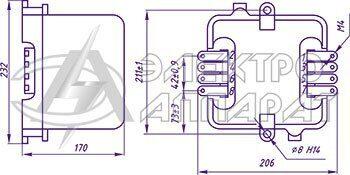 Габаритные, установочные и присоединительные размеры реле РПВ-58 переднее присоединение