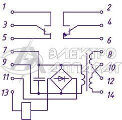 Электрическая схема подключения реле РП 341