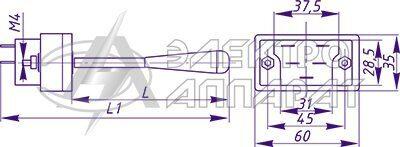 Габаритные и установочные размеры переключателей типа ПКЭ11-12, ПКЭ11-22, ПКЭ11-14, ПКЭ11-24