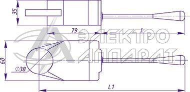 Габаритные и установочные размеры переключателей типа ПКЭ11-11, ПКЭ11-21, ПКЭ11-13, ПКЭ11-23
